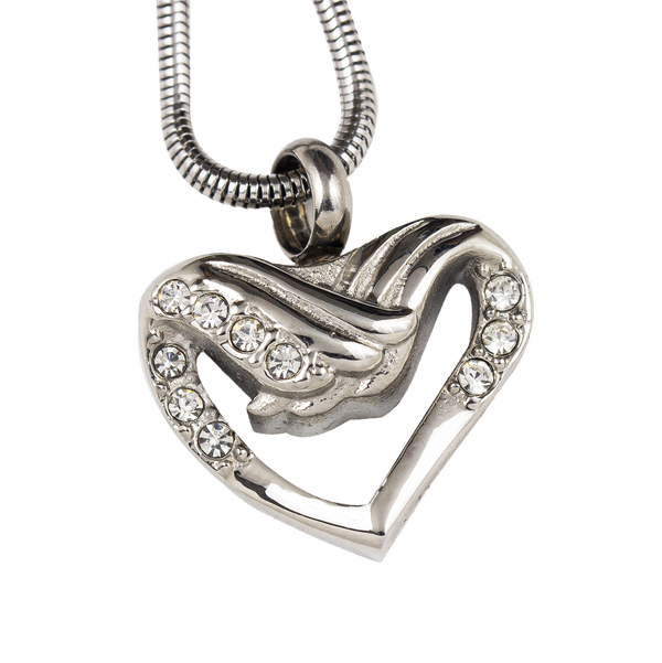 Heart with Wings Stainless Steel Pendant