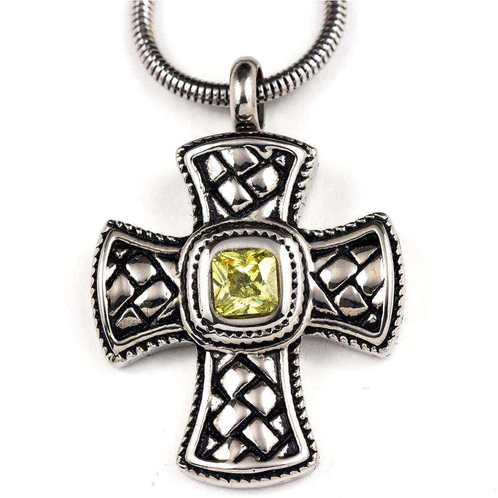 Green Jewelled Cross Pendant