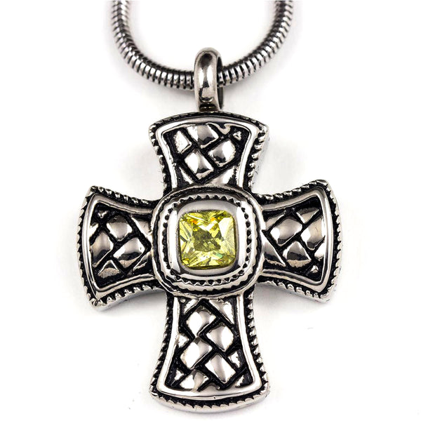 Green Jewelled Cross Stainless Steel Pendant