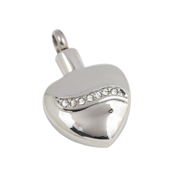 Jewelled Heart Stainless Steel Pendant