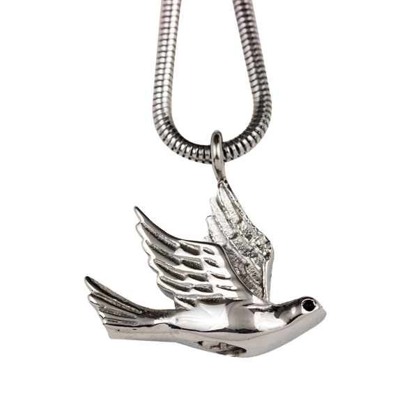 Bird in Flight Stainless Steel Pendant