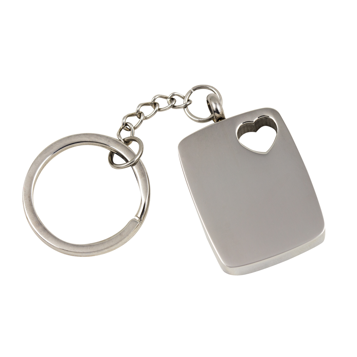 Rectangular with Heart Stainless Steel Keychain