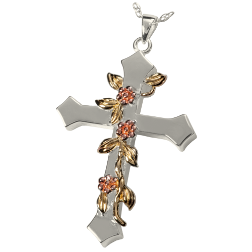 Rose Vine Cross Sterling Silver Pendant