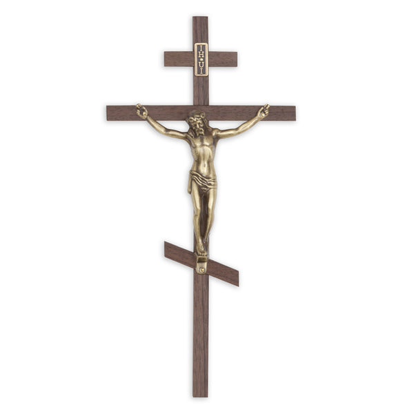 Bronze Corpus on Walnut Orthodox Cross
