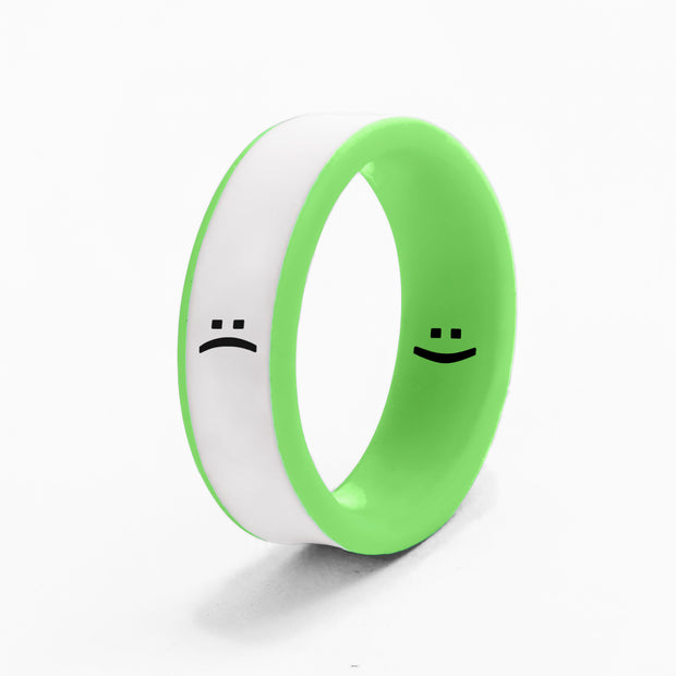 Flip Reversible smile / frown neon green