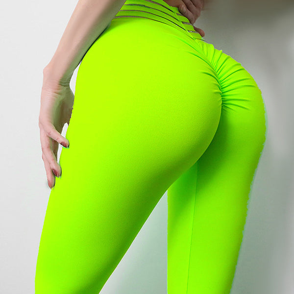 Elastic High Waist Hip Yoga Pants with Rubber Band