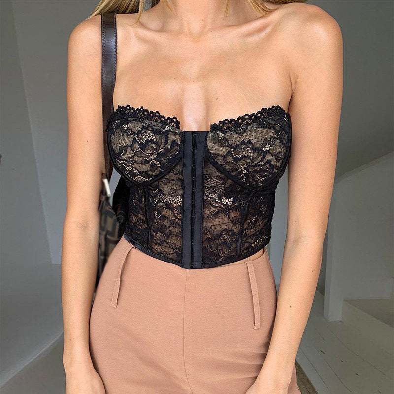 SUCHCUTE Sexy Sleeveless Hook Lace Corset Crop Top