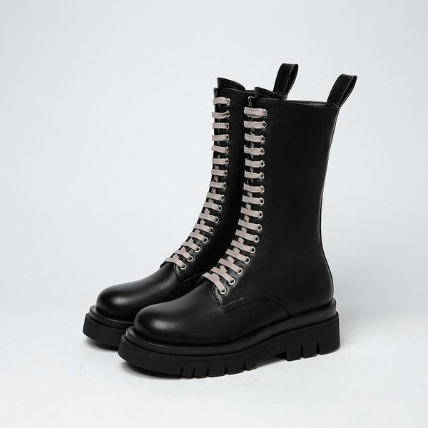 Women's thick-soled thick heel lace-up Martin boots
