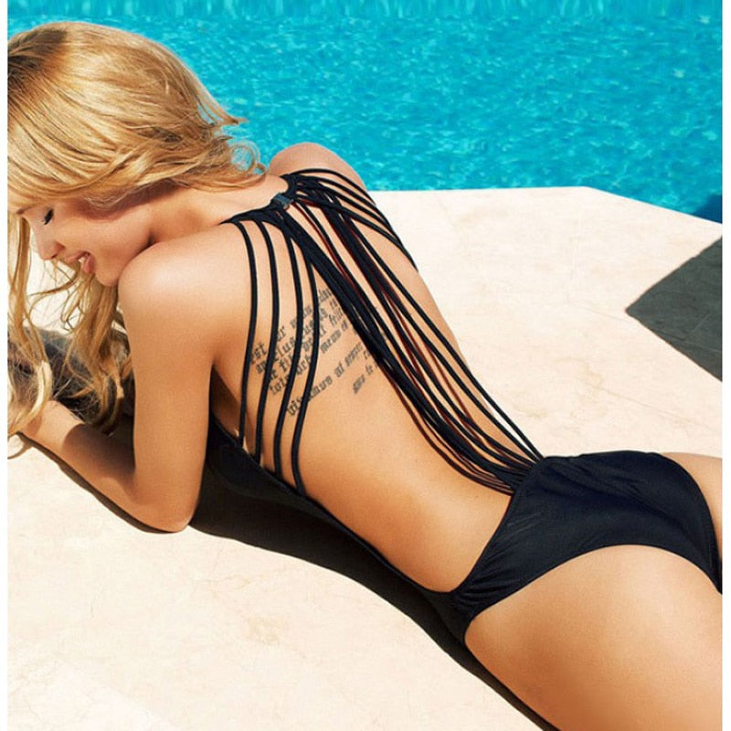Sexy White/Black Swim Suit Backless Sport Swimsuit