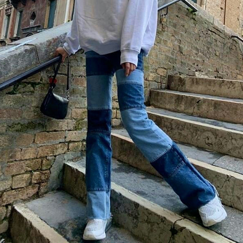Ladies Contrasting High-rise Straight-leg Jeans