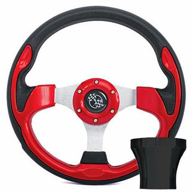 GTW STEERING WHEEL KIT, RED/RALLY 12.5 W/BLACK ADAPTER, CLUB CAR