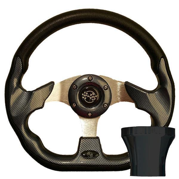 GTW STEERING WHEEL KIT, CARBON FIBER/RACE 12.5 W/BLACK ADAPTER, CLUB CAR PRECEDENT