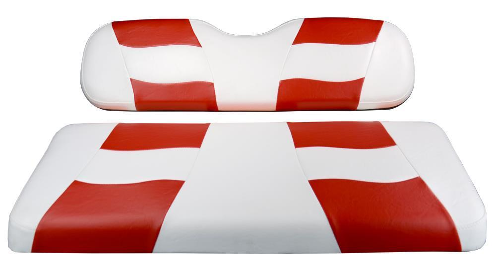 Madjax RIPTIDE White/Red Two-Tone Seat Cover for Club Car DS