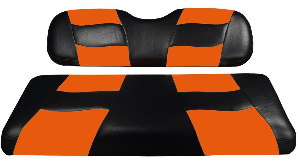 Madjax RIPTIDE Black/Orange Two-Tone Seat Covers for Club Car DS