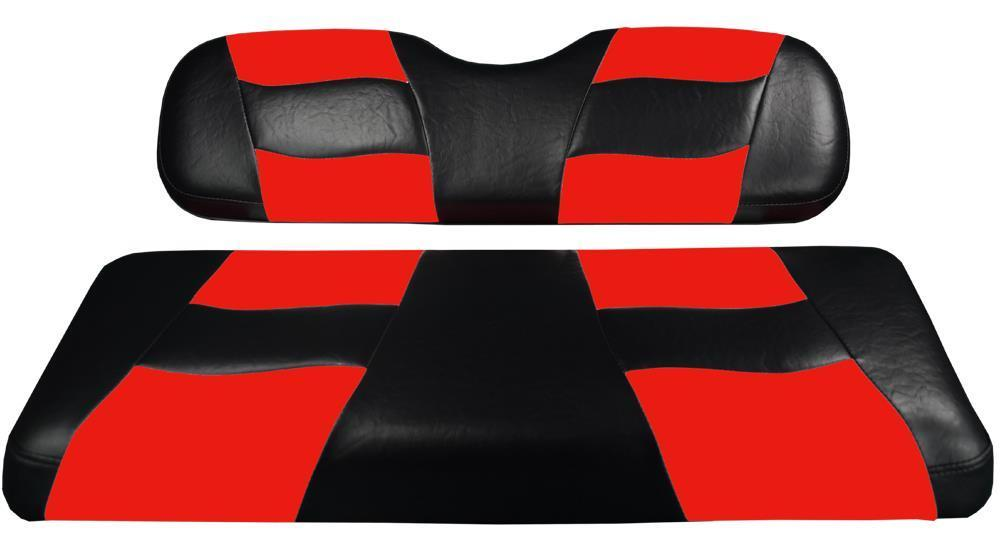 Madjax RIPTIDE Black/Red Two-Tone Front Seat Covers for Star Cart