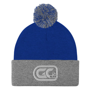 Golf Carts Modified GCMod white logo pom pom beanie