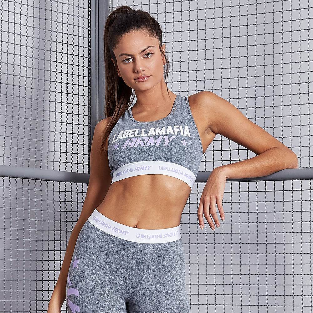 ARMY GRAY SPORTS BRA