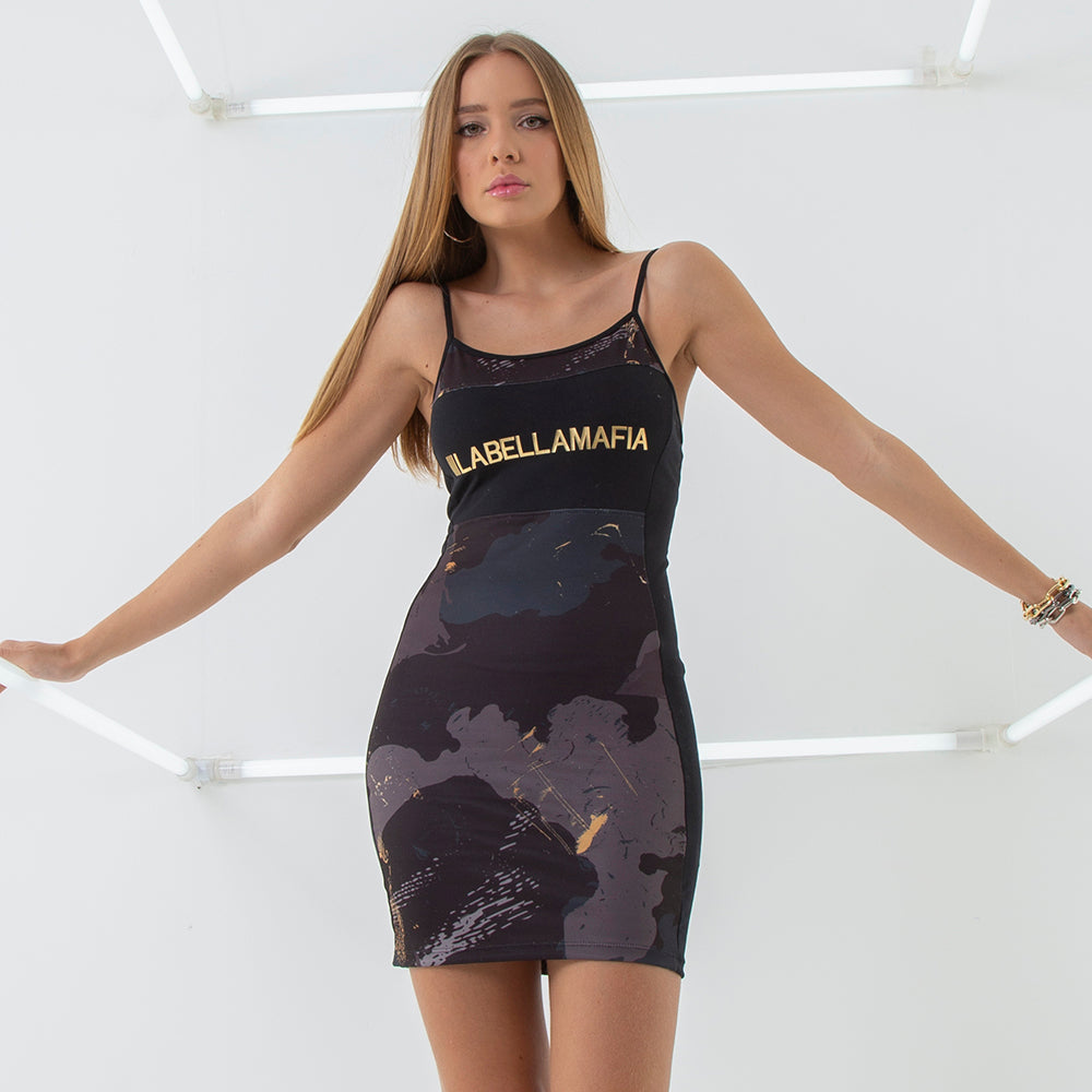 20484 GOLD CAMMO DRESS