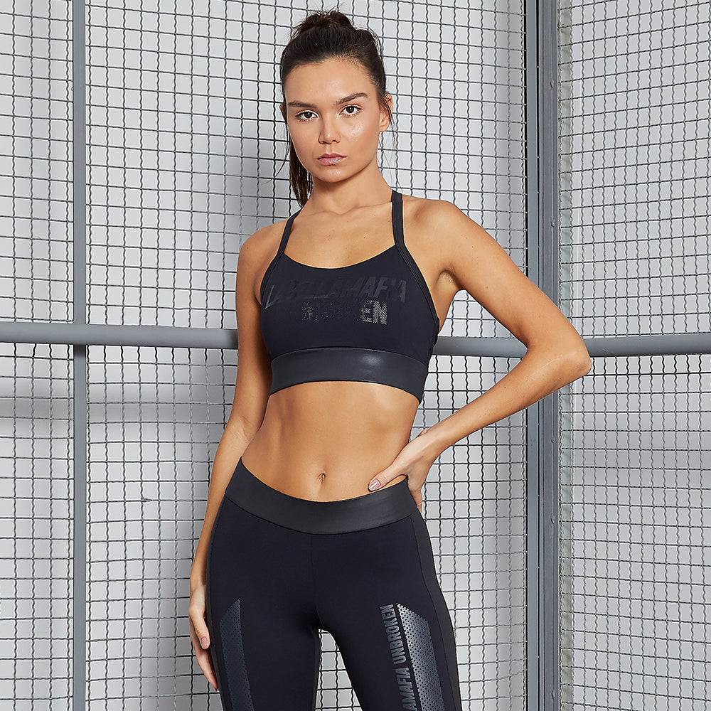 UNBROKEN BLACK SPORTS BRA