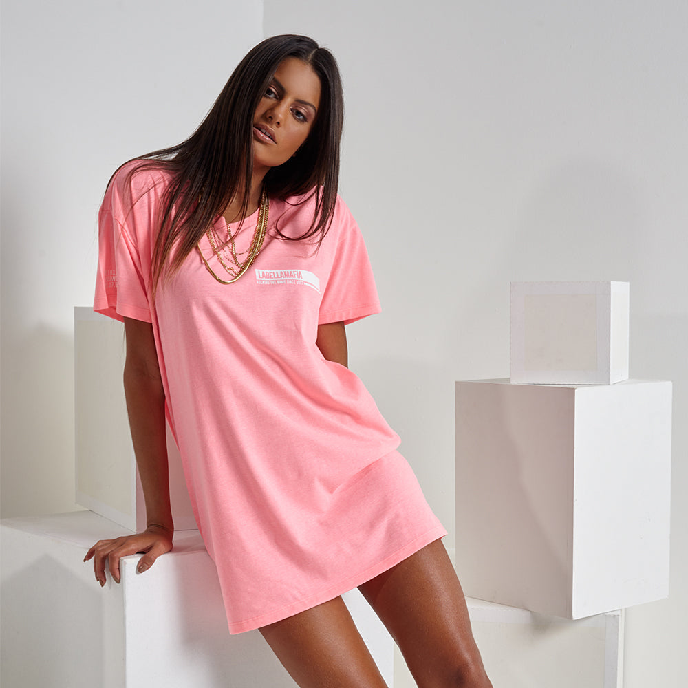 NEON PINK LIGHTS T-DRESS