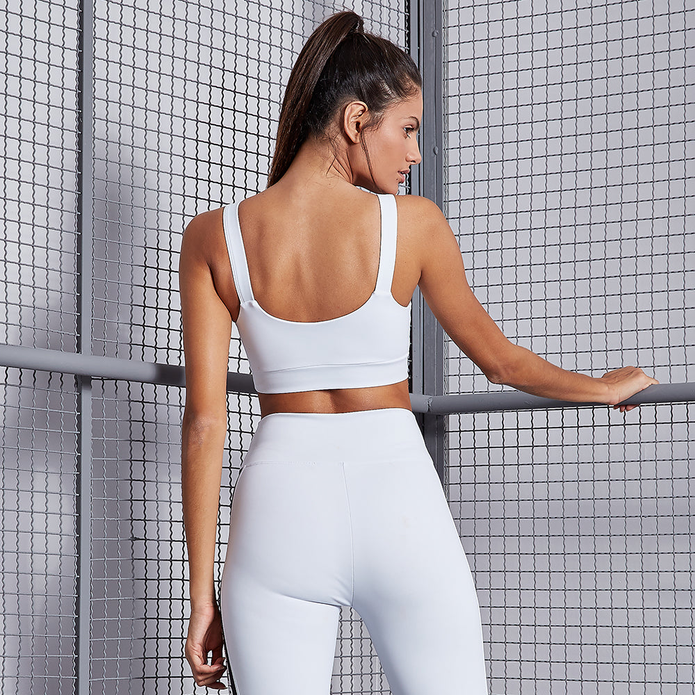 ESSENTIALS TRIANGLE WHITE SPORTS BRA
