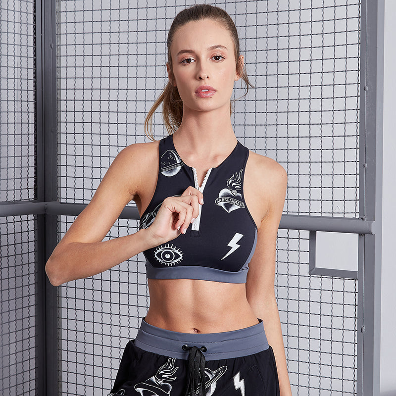 INK BLACK SPORTS BRA