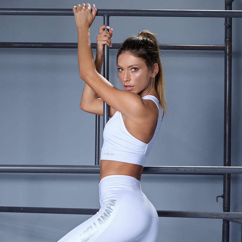 SHINE WHITE SPORTS BRA
