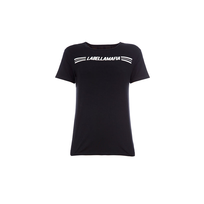 ESSENTIALS LABELLAMAFIA STRIPE BLACK T-SHIRT