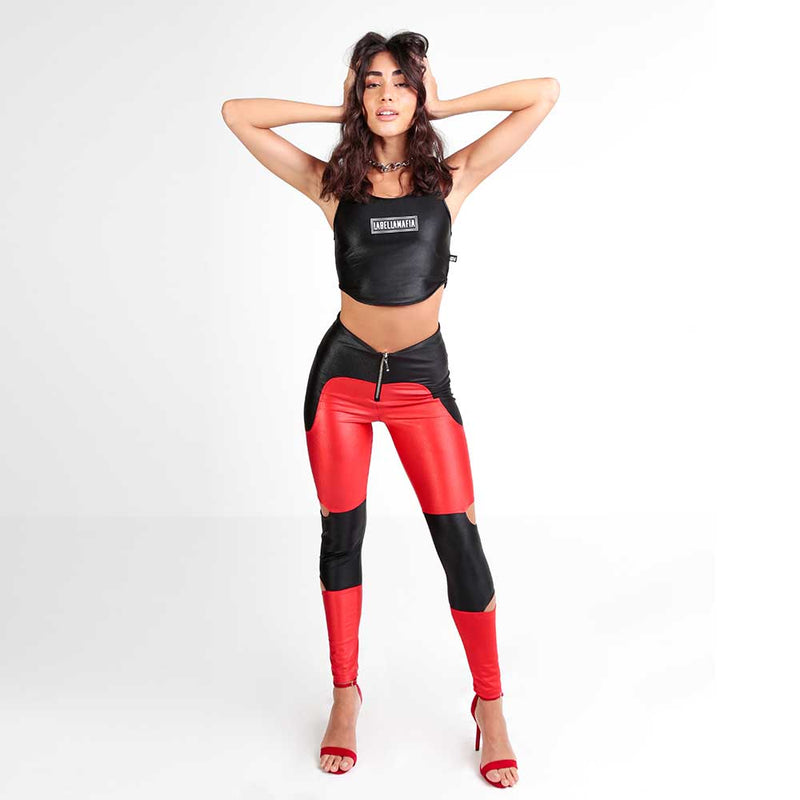 FLASHY RED N BLACK LEGGING 22787