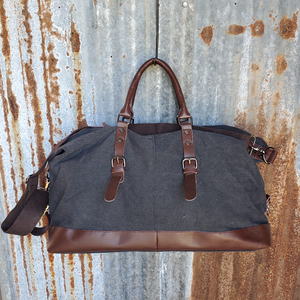 Black and Leather Duffel Bag Black