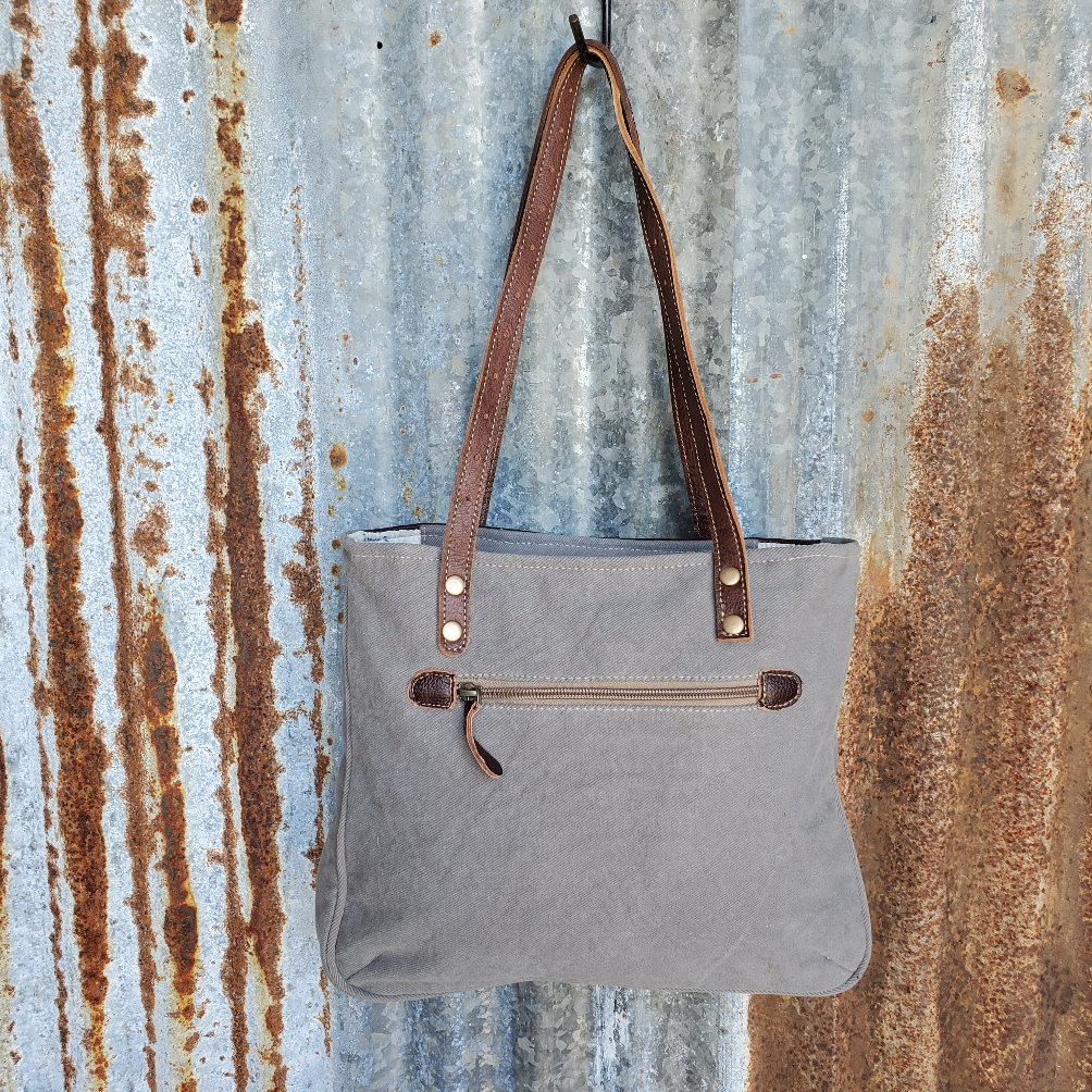 Wave Pattern and Leather Tote Back