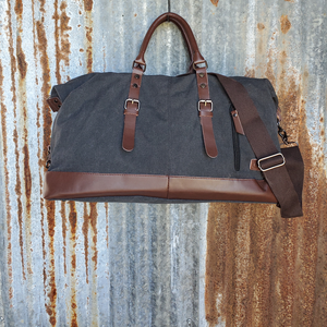 Black and Leather Duffel Bag Front