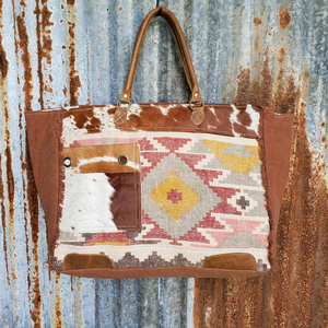 Indian Summer with Cowhide Weekender Bag Front