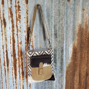 Chevron and Cowhide Cross Body Leather Front Pocket Front