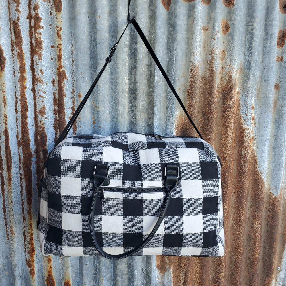 Black and White Plaid Duffle Bag Back