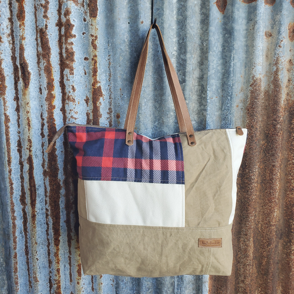 Blue and Red Plain Tote Front