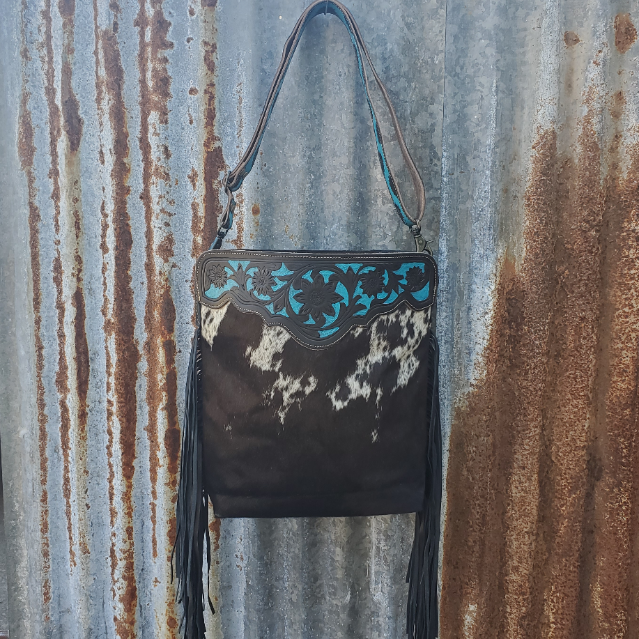 Black Cowhide  Cowgirl Crossbody Front
