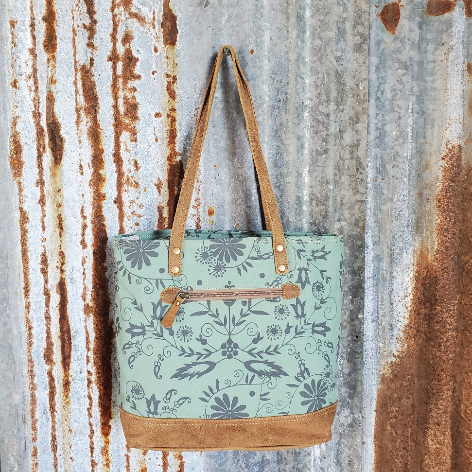 Green Floral Leather Bottom Tote Back