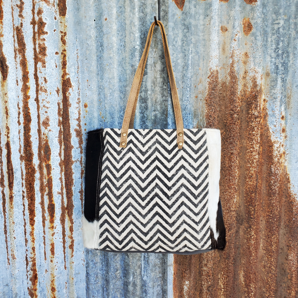 Chevron Cowhide Tote Front