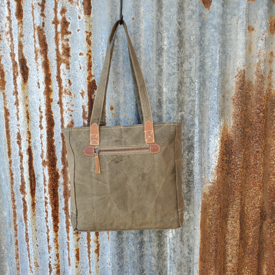 Brown Anchor Print Tote Back