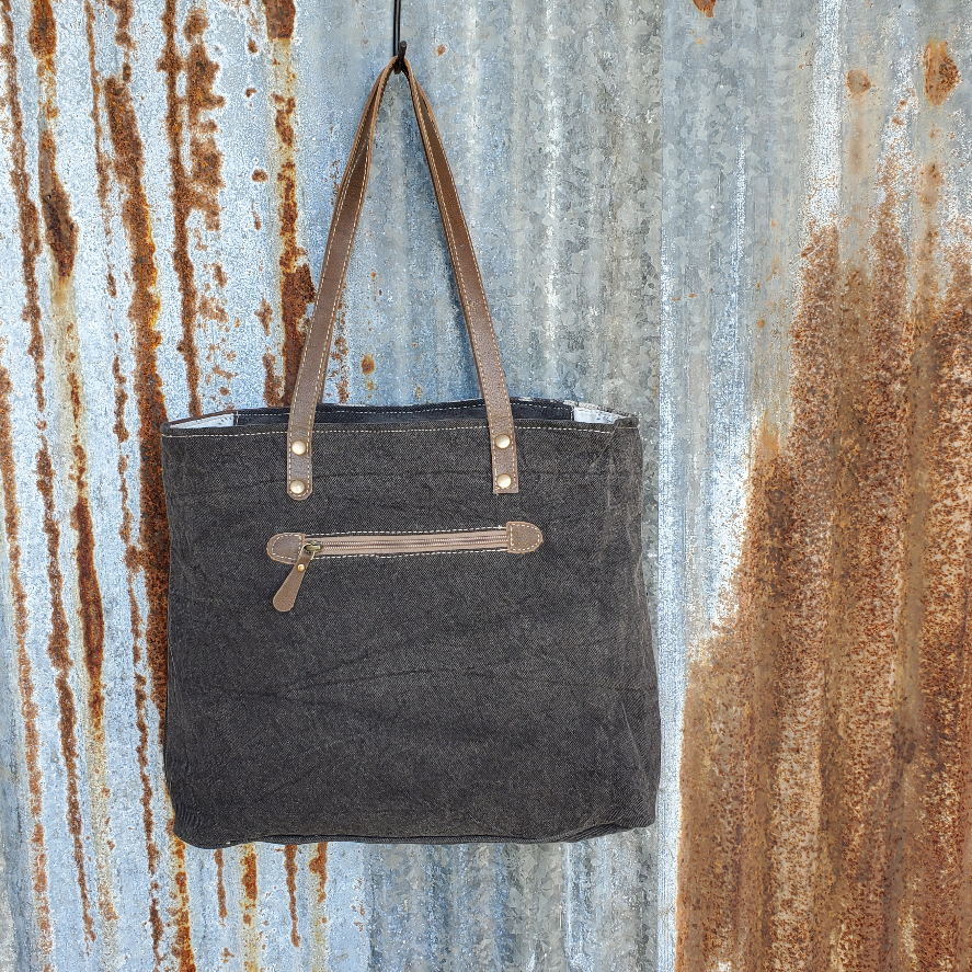 Gray Flame Leather Pocket Tote Back