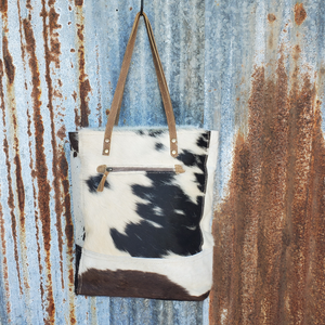 Black and White Cowhide Tote Back