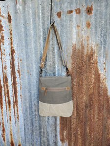 "Brown Canvas,  Flower Pattern, Front Leather Pocket, 25"" Leather Adjustable Shoulder Strap - Myra"