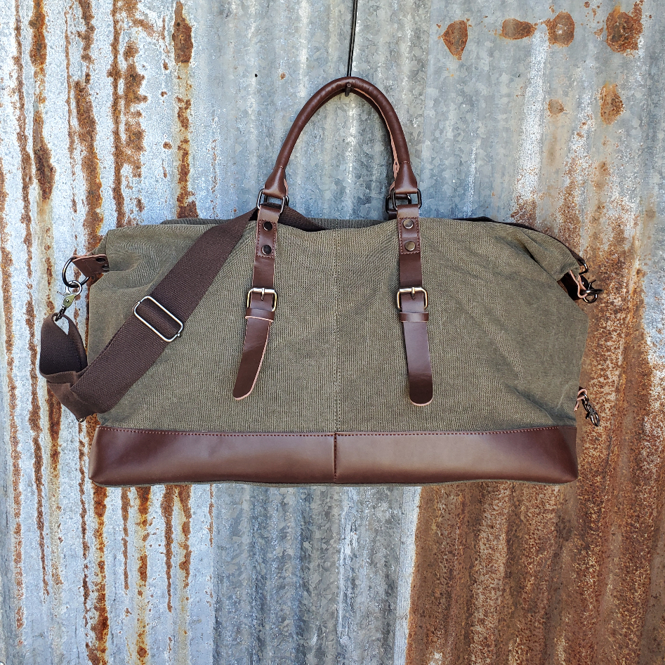 Olive Canvas and Leather Duffel Bag Back