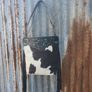 Black Cowhide  Cowgirl Crossbody Back