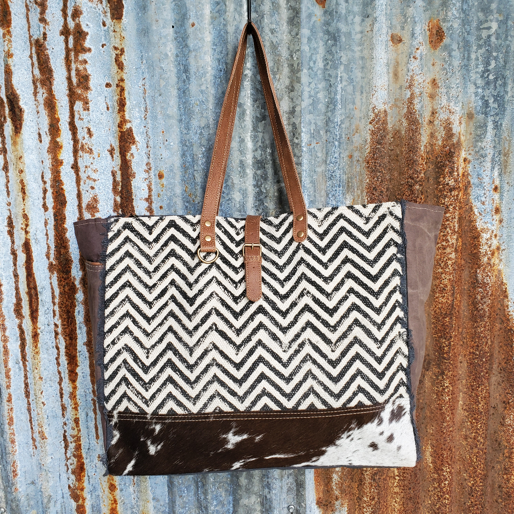Black and White Canvas, Chevron and Cowhide Weekender Front