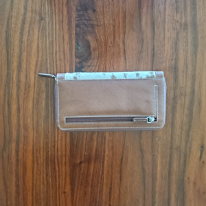 Brown and White Cowhide Wallet Back