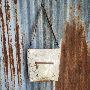 Gold Spec Cowhide Front Pocket Cross Body Front