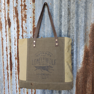 Lone Wolfe Canvas Tote Front