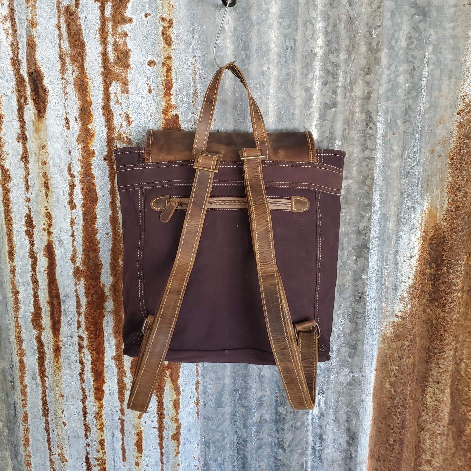Purple Canvas Oil Rubbed Backpack Back